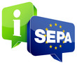 "Speechbubbles ""SEPA/Information"" Green/Blue"