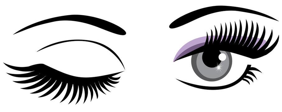 vector eyes winking