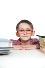 Portrait of a young happy boy in red spectacles with books.
