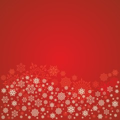 Christmas card with snowflakes. Red festive background.