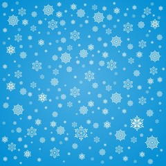 Christmas background with snowflakes. Blue Christmas card.