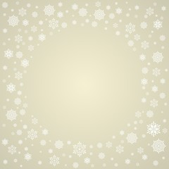 Christmas background with snowflakes. Golden Christmas card.