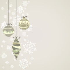 New year postcard. Christmas background with balls.