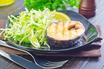 salad and salmon