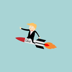 businessman rocket idea