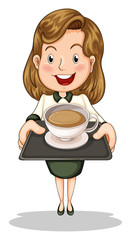A happy businesswoman holding a tray with a cup of choco