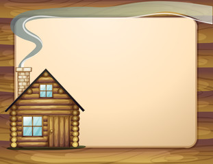 An empty wooden template with a wooden house