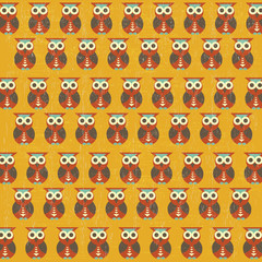 retro seamless pattern with owls