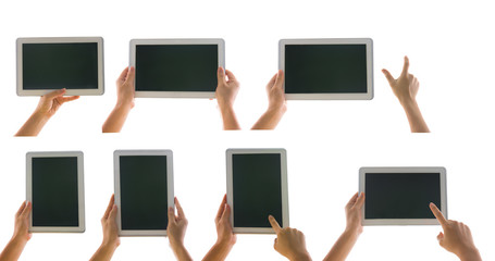 various tablet computer isolated in a hand on the white backgrou