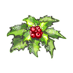 christmas holly branch with red berries