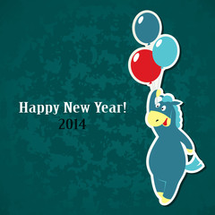 New Year greeting card – horse with balloons
