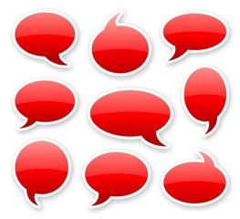 stickers of red glossy rounded comics text bubbles