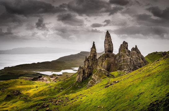 Landscape view of Old Man of Storr rock formation, Scotland