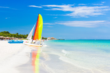 Canvas Prints Caribbean Scene with sailing boat at Varadero beach in Cuba
