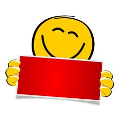 Smiley mit rotem Schild