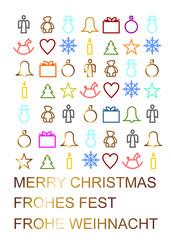 bunte weihnachtliche Symbole