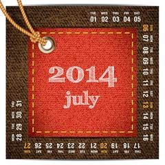 2014 year calendar stylized jeans. July