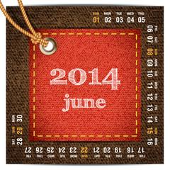 2014 year calendar stylized jeans. June