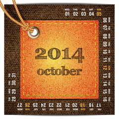 2014 year calendar stylized jeans. October