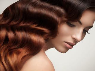 Brown Hair. Beautiful Woman with Healthy Long Hair.