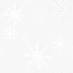 Seamless snow flakes vector pattern.
