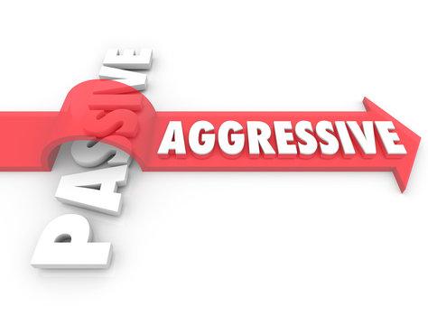 Aggressive Arrow Over Word Passive Action Vs Inaction Attitude