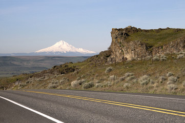 Two Lane Highway Reveals Mt Hood Cascade Range Landscape