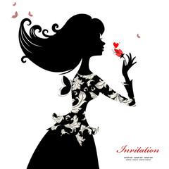 Wall Mural - Silhouette of a beautiful stylish woman