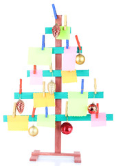 Wooden hand made fir tree with blank papers and Christmas