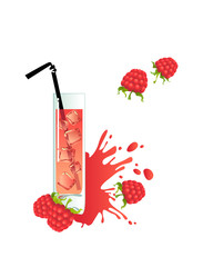 Glass of raspberry juice on a white background