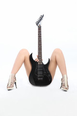 sexy asian girl with a guitar