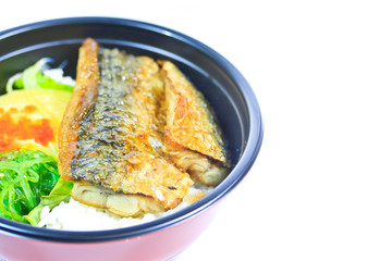 Grilled saba with rice or Shioyaki