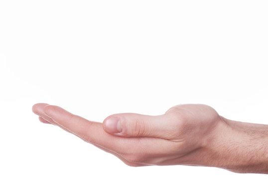 mano aperta su sfondo bianco