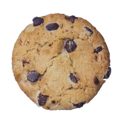 Chocolate chip cookies isolated on white. Closeup