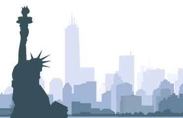 Statue of Liberty & New York - Vector