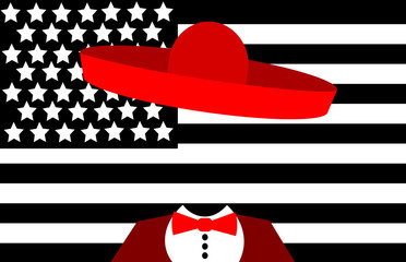 man wweraing sombrero in front of american flag