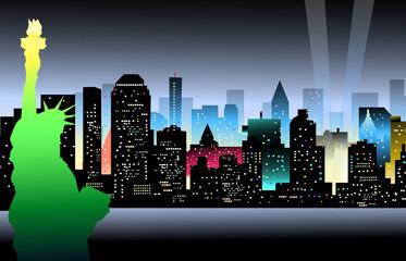 Statu of Libery & New York at Night - Vector