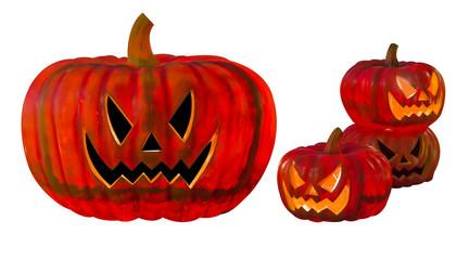 four halloween pumpkin