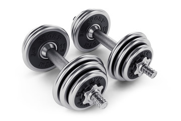 Set of dumbbells weights for fitness