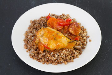 chicken with buckwheat and sauce