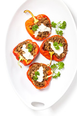 Stuffed bell pepper with ground beef