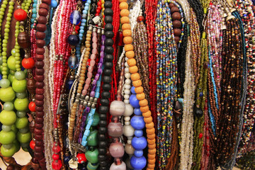 Display of colorful beads necklaces, New Delhi