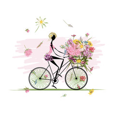 Recess Fitting Floral woman Girl with floral bouquet in basket cycling