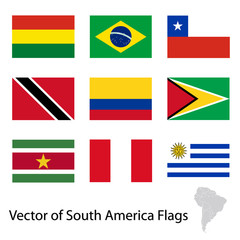 Flags of South America on white background