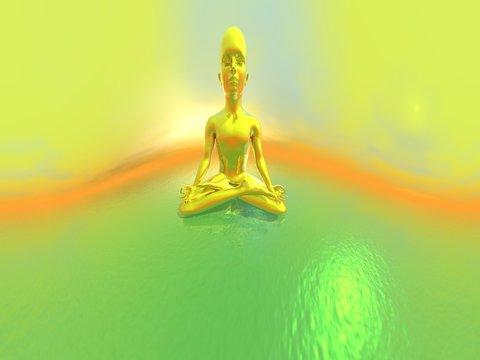 Gold meditation - 3D render