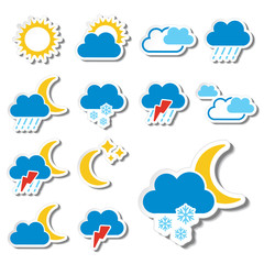 Vector set of color weather stickers - symbol, sign, icon