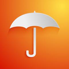 White umbrella icon on orange background. Vector illustration