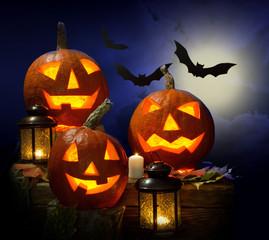 pumpkins and vampire - bat