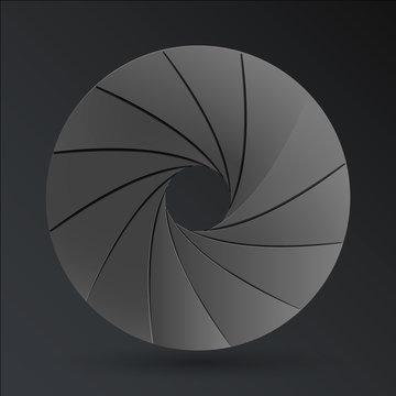 Vector illustration of black paper camera aperture