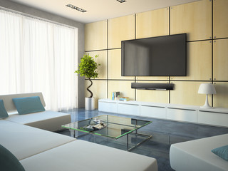Modern interior with white sofas and lamp